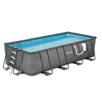 Dark Wicker 9 ft. x 18 ft. Rectangular 52 in Deep Metal Frame Above Ground Pool Package