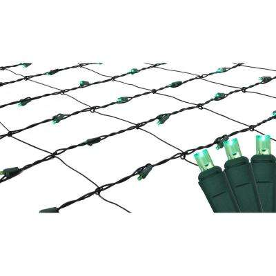 4 ft. x 6 ft. Green LED Net Style Christmas Lights with Green Wire