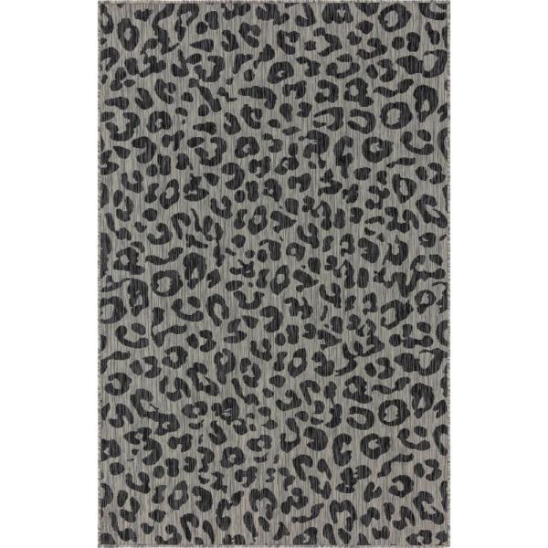 Black Leopard Outdoor 7 ft. x 10 ft. Area Rug