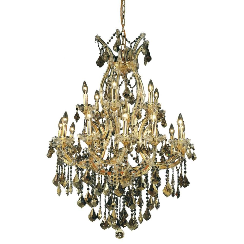 Elegant Lighting 19-Light Gold Chandelier with Golden Teak Smoky Crystal