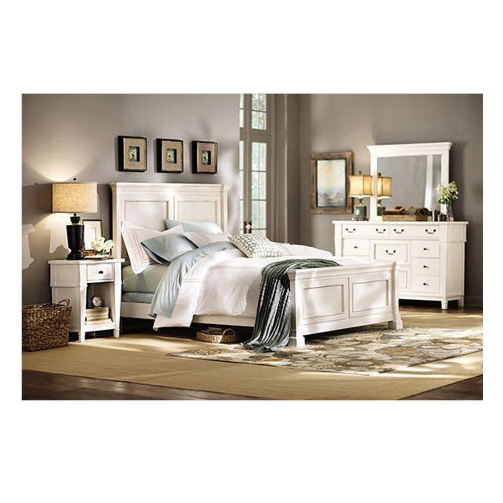 Unbranded Bridgeport Antique White King Bed Frame-1872510460 - The ...