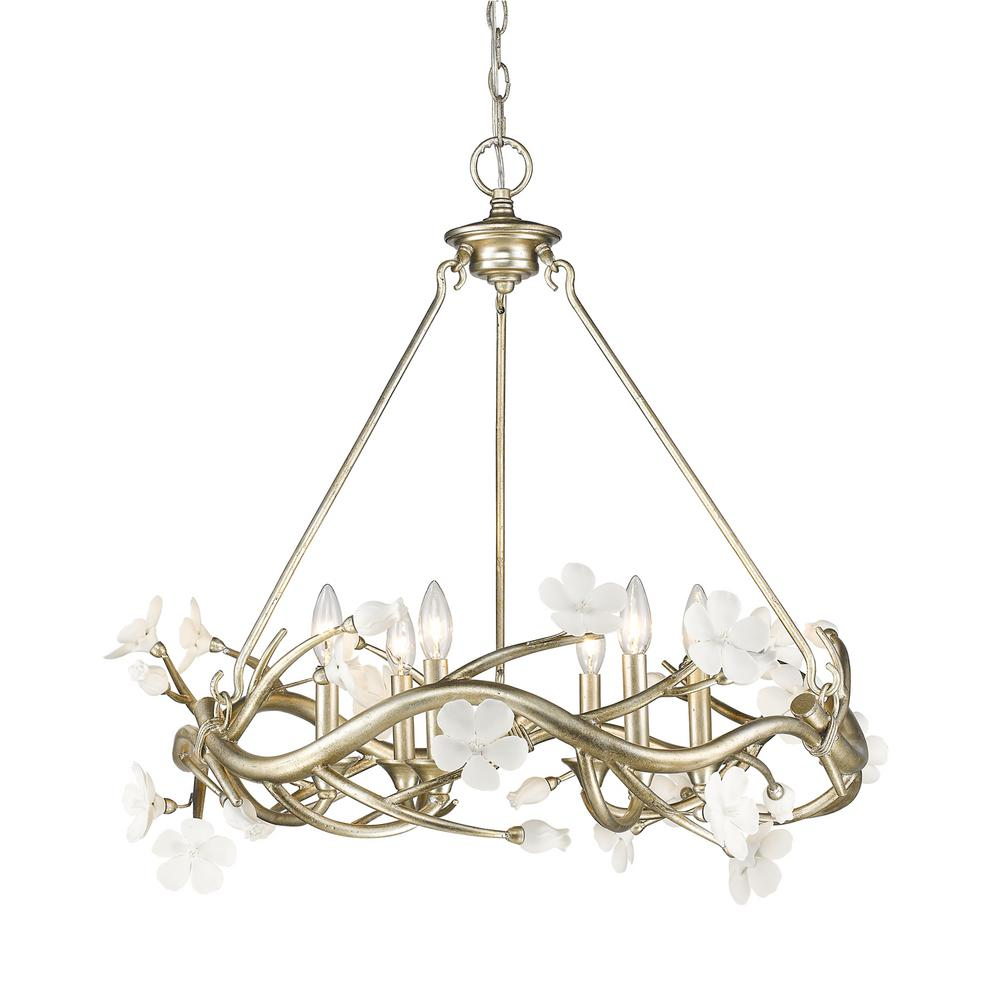 Golden lighting aiyana 6 light silver leaf chandelier with golden lighting aiyana 6 light silver leaf chandelier with porcelain flower shades arubaitofo Choice Image