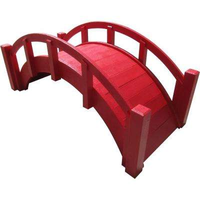 25 in. Miniature Japanese Wood Garden Bridge in Red