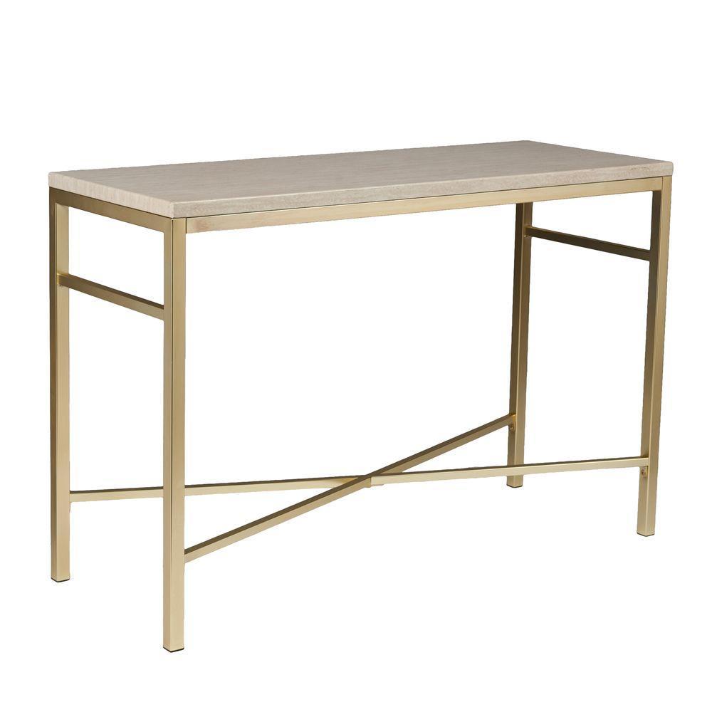 Nellie Matte Brass Faux Stone Tavertine Console Table