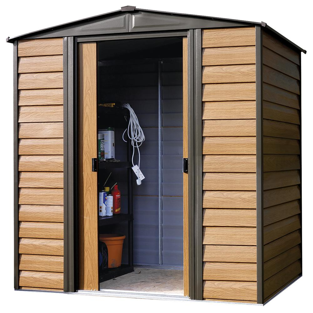 Arrow Woodridge 6 ft. W x 5 ft. D Wood-grain Galvanized Metal Storage Building