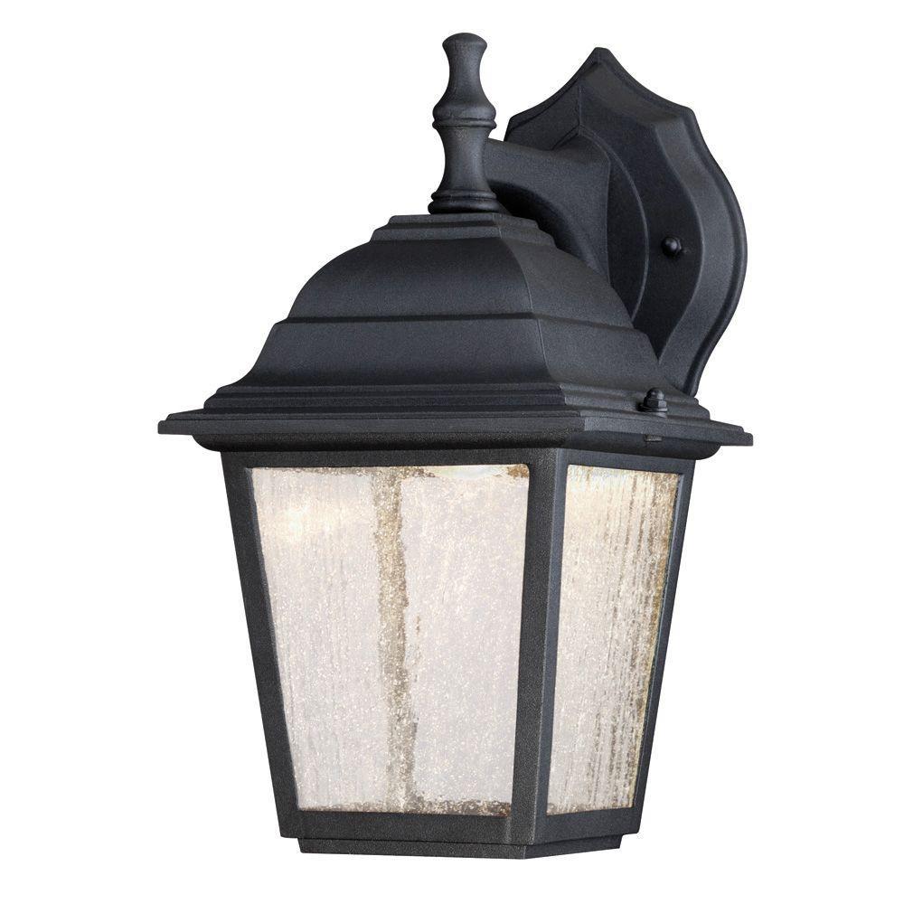 1-Light Black Outdoor Integrated LED Wall Mount Lantern