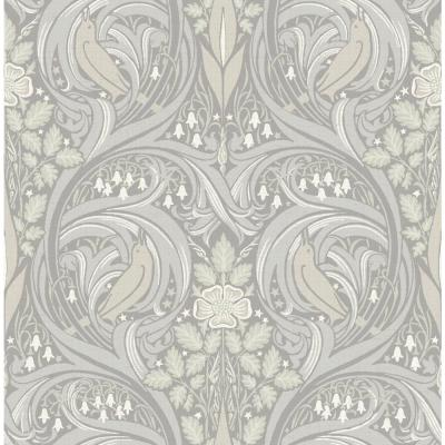 Birds Ogee Metallic Pearl and Gray Victorian Wallpaper