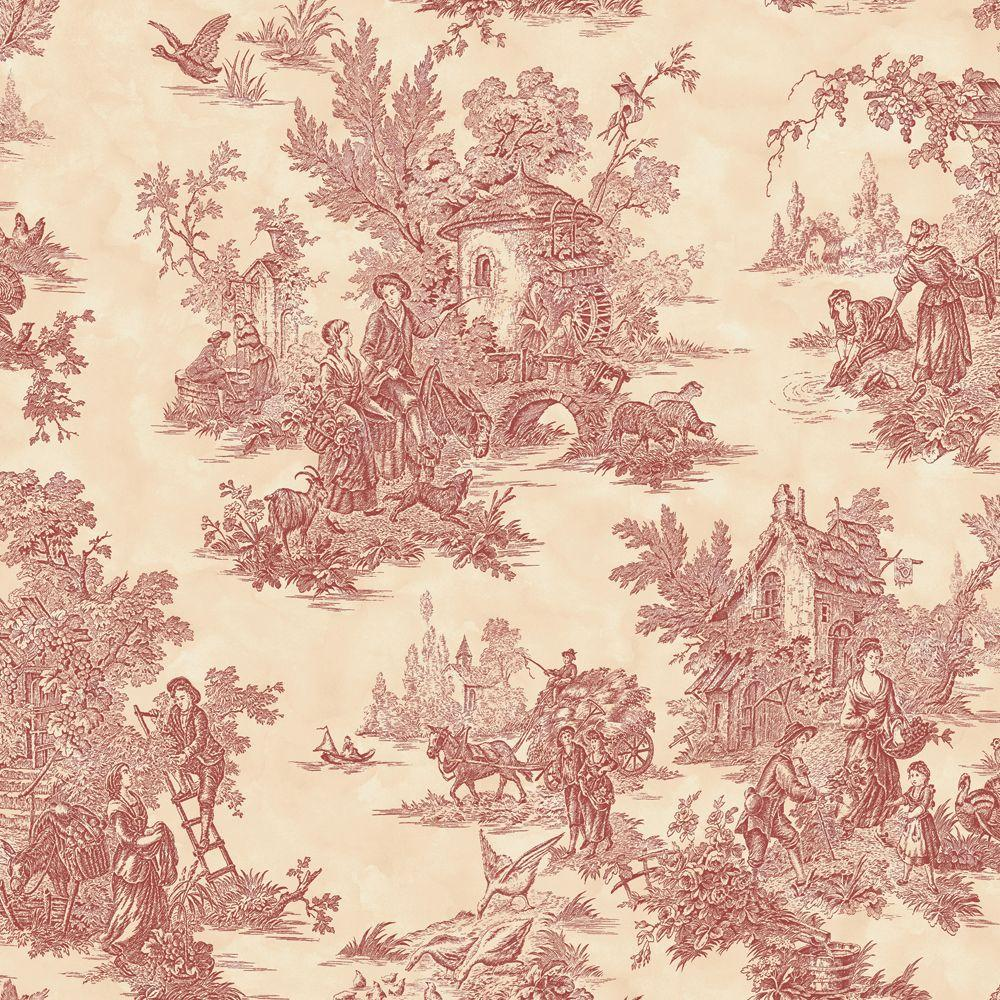 The Wallpaper Company 56 sq. ft. Burgundy and Cream Large Scale Classic Toile Wallpaper