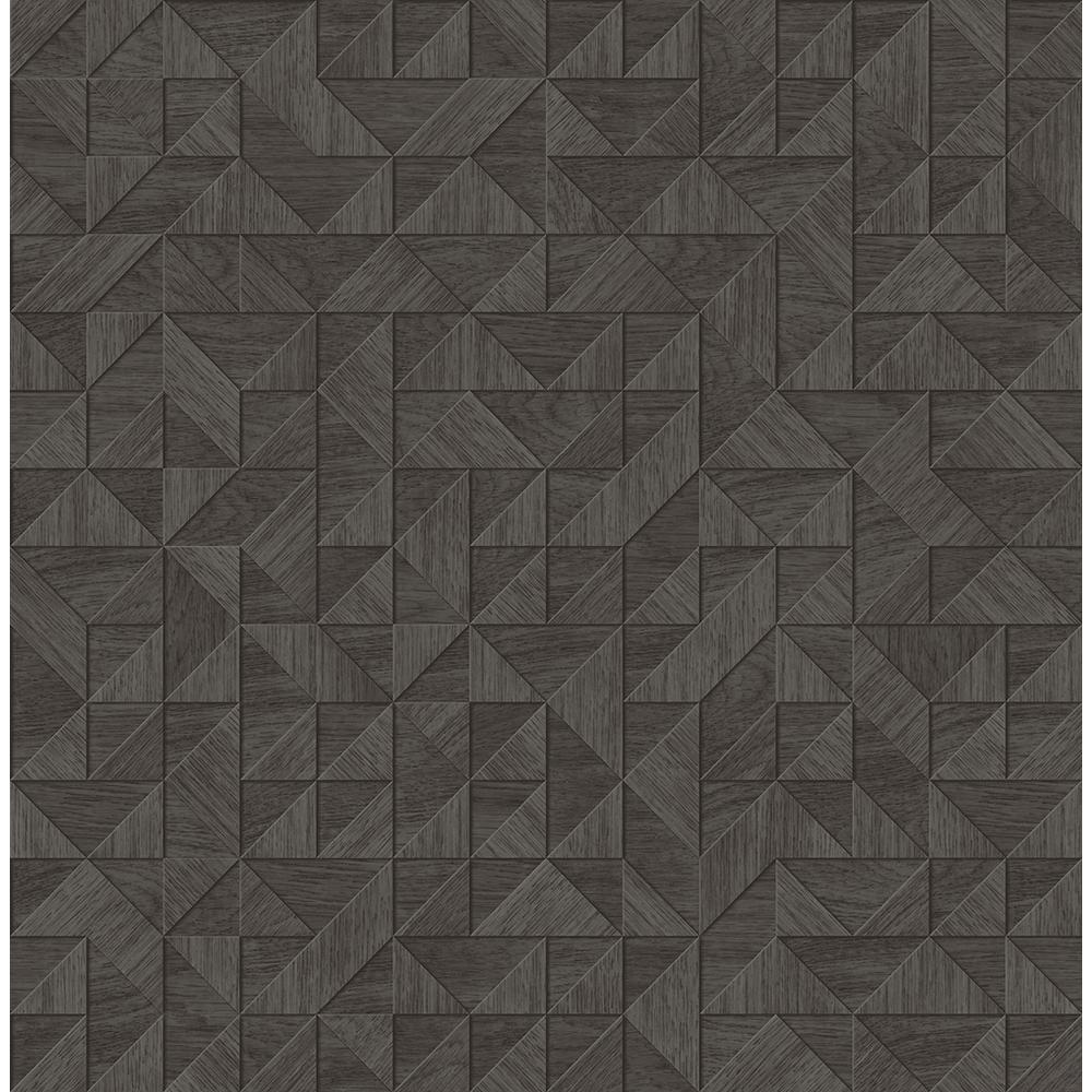 A Street Prints Gallerie Dark Brown Geometric Wood Paper Strippable Wallpaper Covers 56 4 Sq Ft 2908 25326 The Home Depot