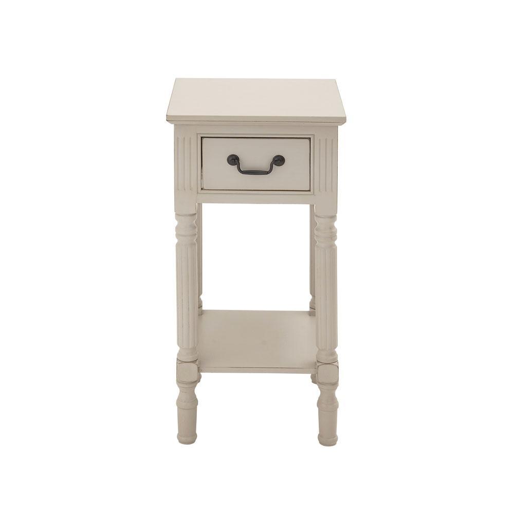 Superieur Antique White Wooden Accent Table