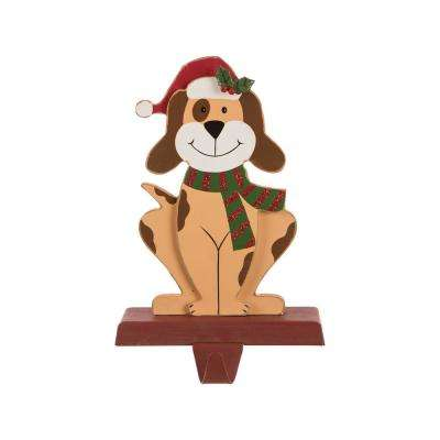 7.76 in. H Wooden Metal Christmas Stocking Holder Dog