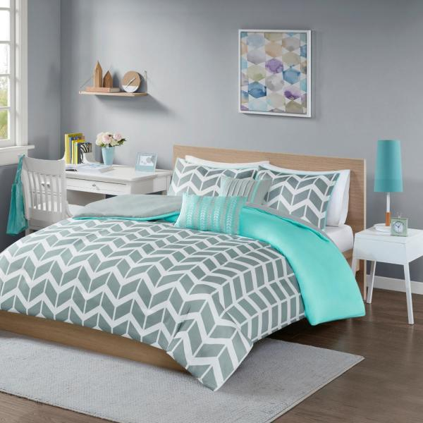 Intelligent Design Laila 5-Piece Teal Full/Queen Geometric Duvet Cover Set