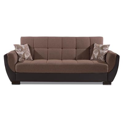 Armada Air 93.5 in. Brown Chenille 3-Seater Full Sleeper Convertible Sofa Bed with Storage