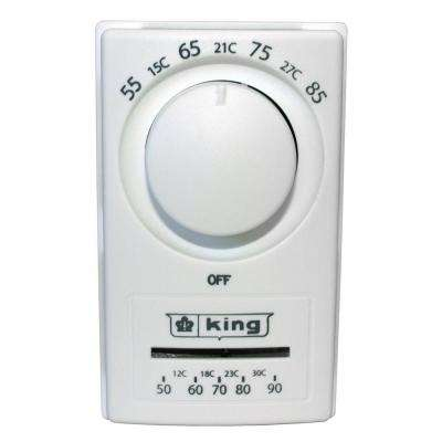 5-1-1-Day Anticipated Euro Style Double Pole Thermostat with Thermometer in White