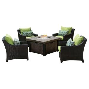 Rst Brands Deco 5 Piece Patio Fire Pit Seating Set With