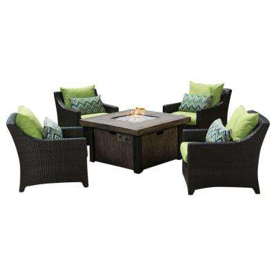 Deco 5-Piece Patio Fire Pit Seating Set with Ginkgo Green Cushions