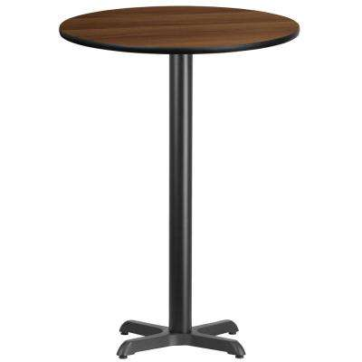 30 in. Round Black and Walnut Laminate Table Top with 22 in. x 22 in. Bar Height Table Base