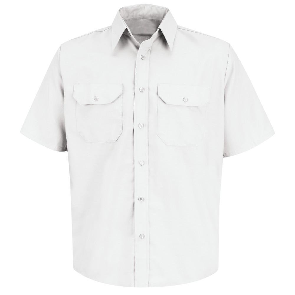 Men's Size M White Solid Dress Uniform Shirt