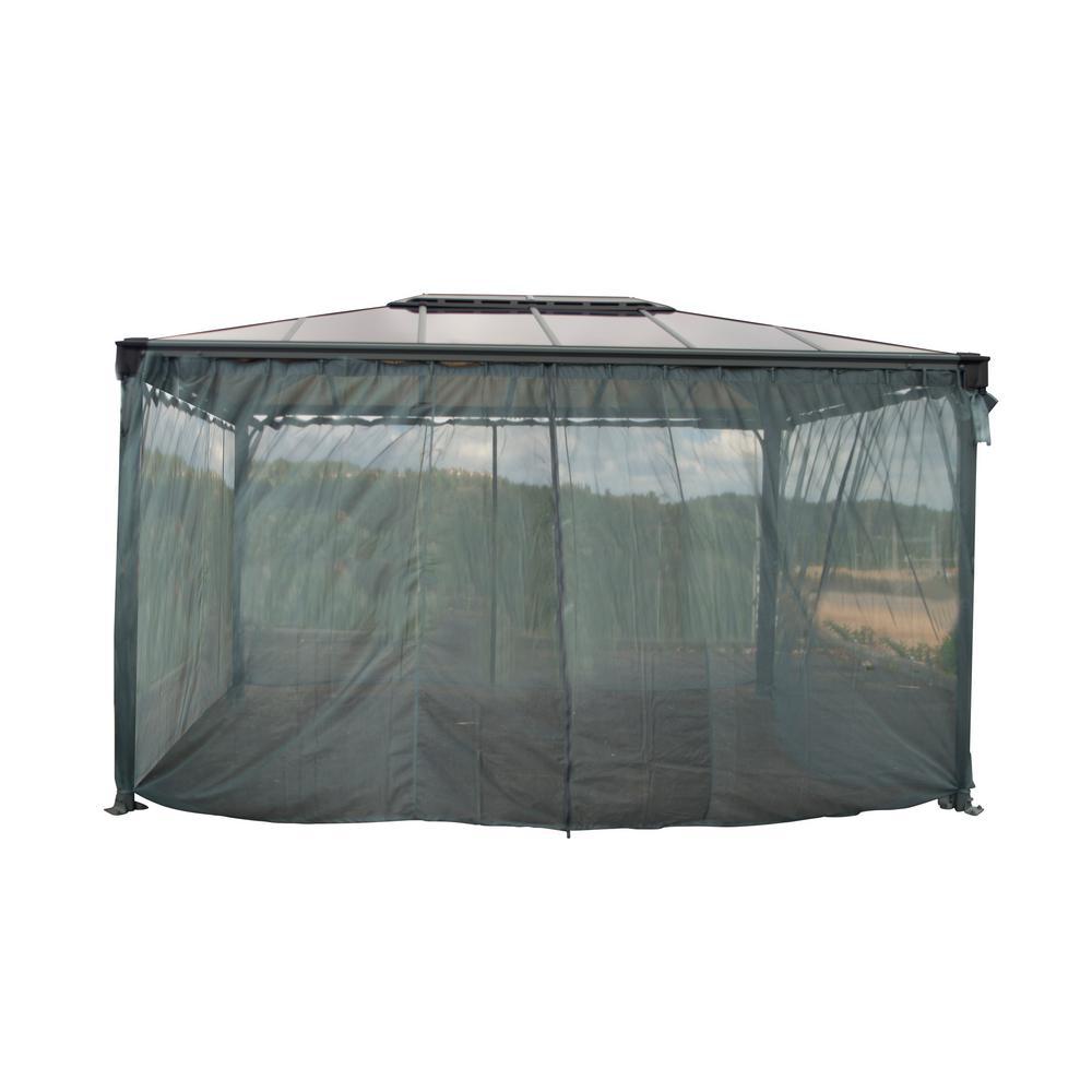 Palram Martinique 4300 14 ft. x 10 ft. Garden Gazebo Netting Set Grey (4-Piece)