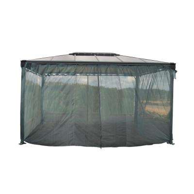 Martinique 4300 14 ft. x 10 ft. Garden Gazebo Netting Set Grey (4-Piece)