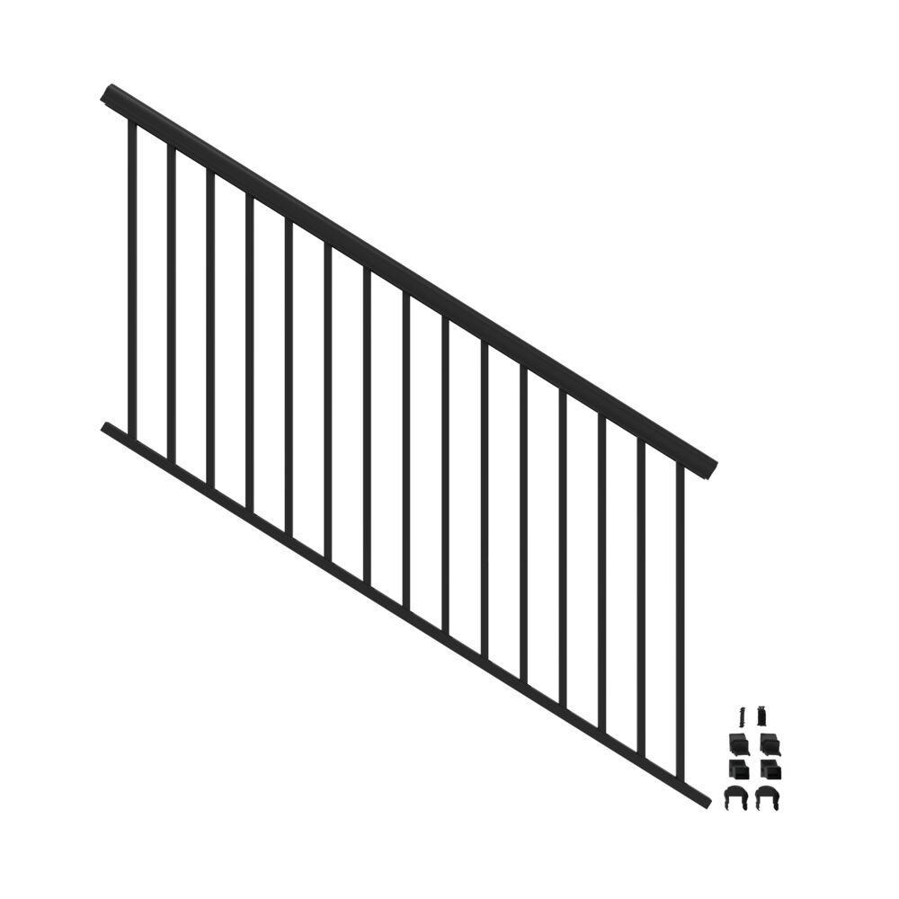 Penrose 6 ft. x 36 in. Matte Black Aluminum Decorative Rail Stair Kit