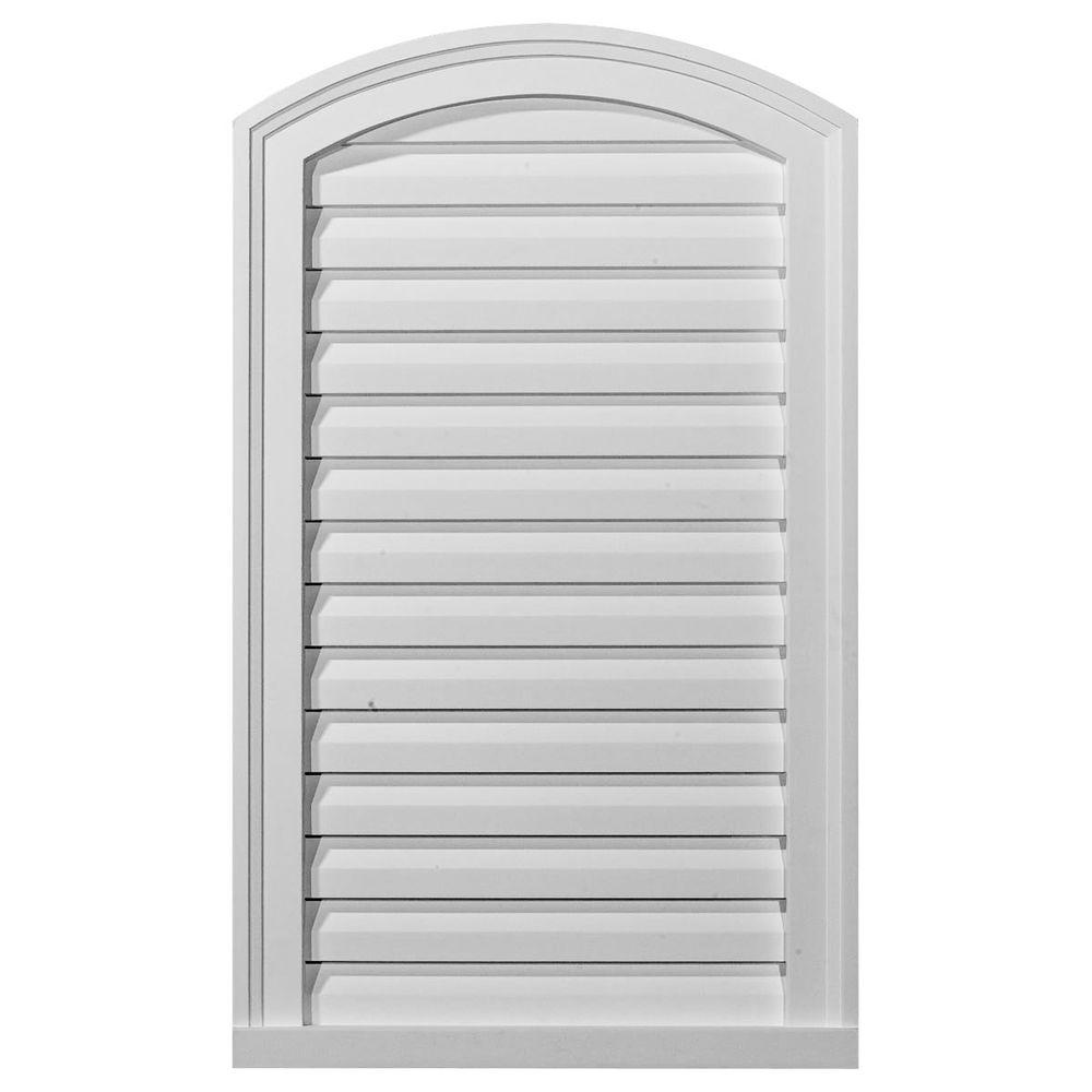 Ekena Millwork 2 in. x 18 in. x 30 in. Decorative Eyebrow Gable Louver Vent