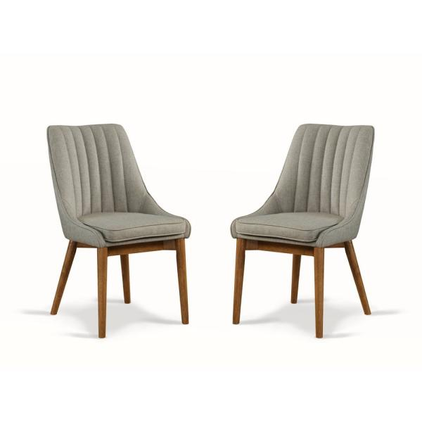 Avery Mid Century Gray Upholstered Dining Chair (Set of 2) [34.3 in x 19.2 in x 22.5 in]