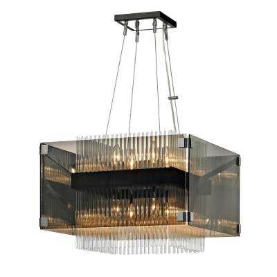 Apollo 8-Light Dark Bronze and Polished Chrome 20 in. W Chandelier with Plated Smoked Glass with Clear Glass Rods