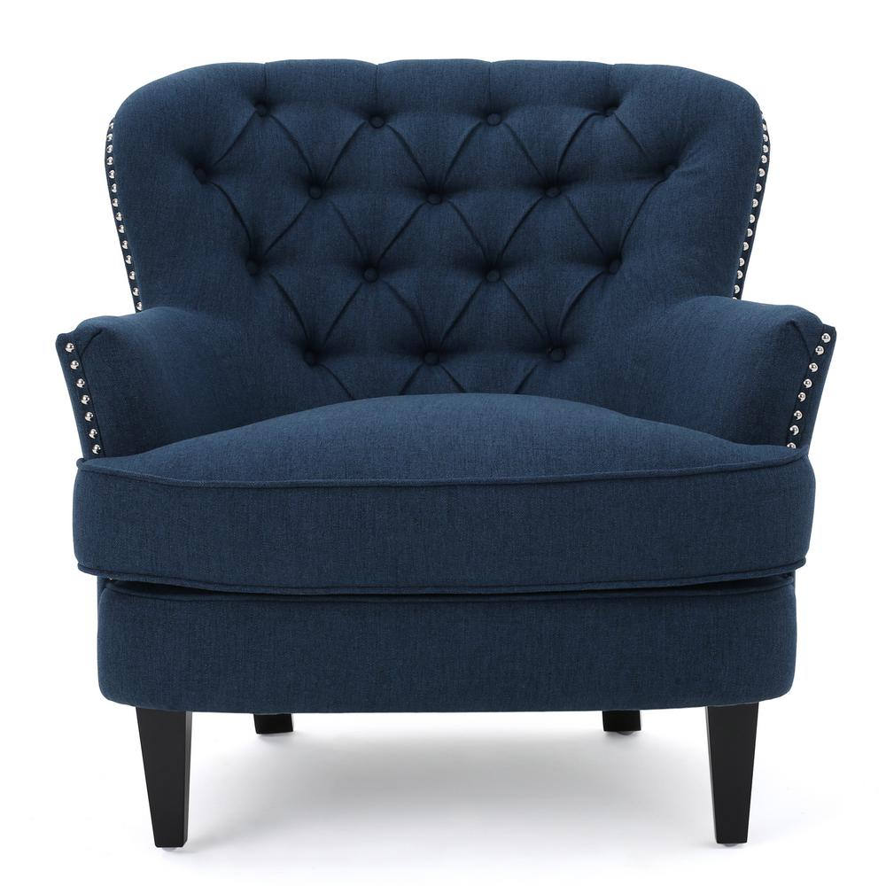 Noble House Tafton Dark Blue Fabric Tufted Club Chair