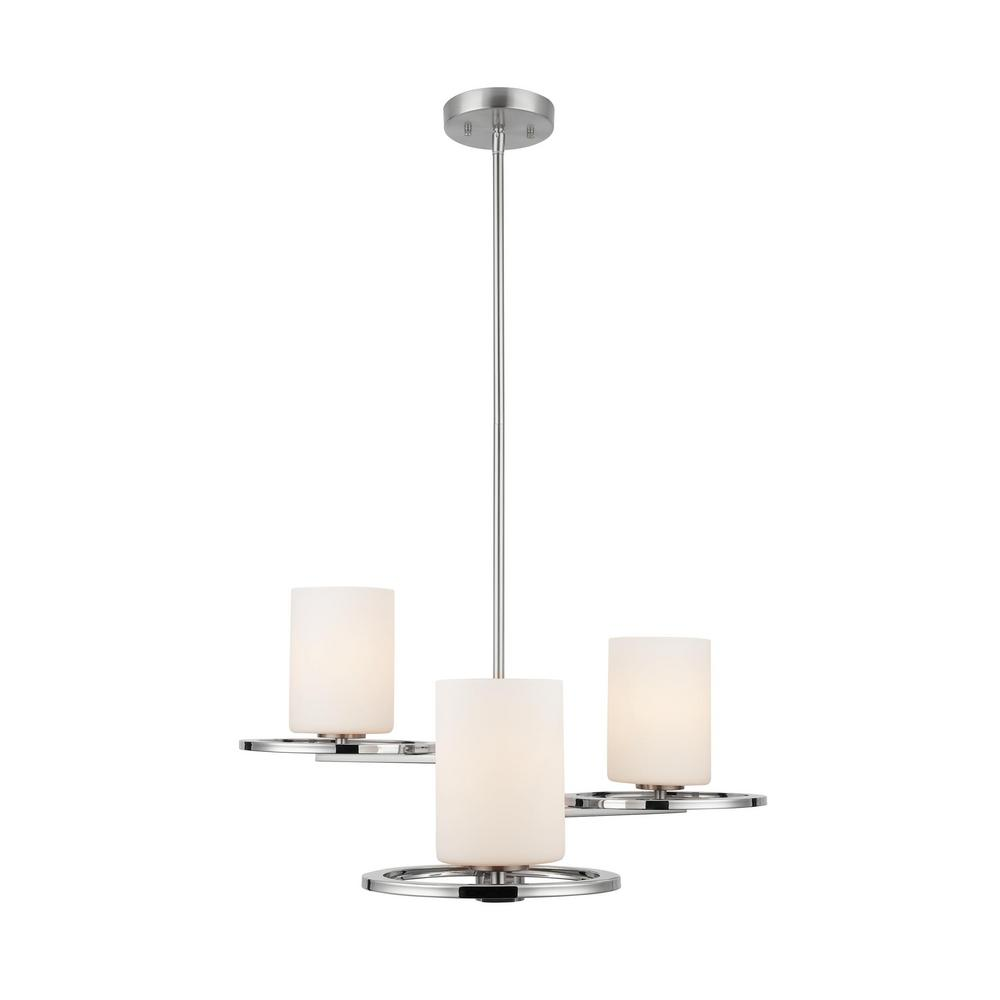Home Decorators Collection 3-Light Polished Nickel and Brushed Nickel Chandelier with Etched Opal Cylinder Glass Shades