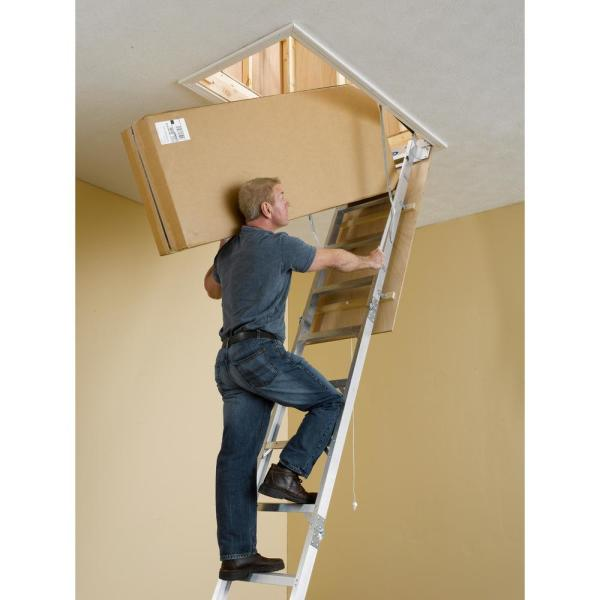Werner 8 Ft 10 Ft 25 In X 54 In Aluminum Attic Ladder With 375 Lb Maximum Load Capacity Ah2510b The Home Depot
