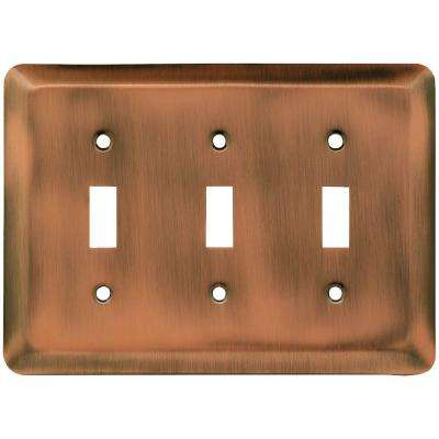 Stamped Round Decorative Triple Switch Plate, Antique Copper
