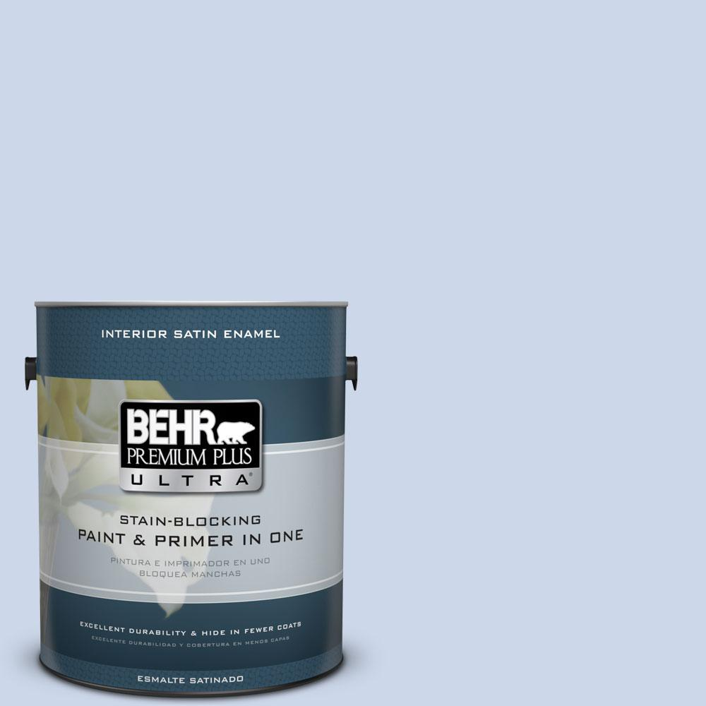 1 gal. #610C-2 Calm Water Satin Enamel Interior Paint and Primer