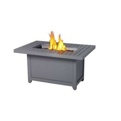 30 in. x 40 in. Hamptons Rectangle Patio flame Table Aluminum Construction Fire Bowl