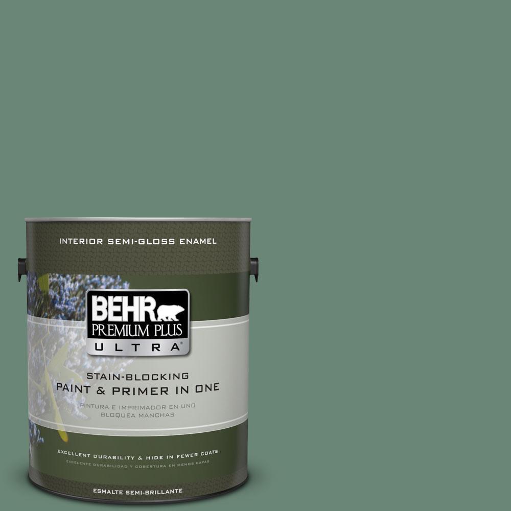 BEHR Premium Plus Ultra 1-gal. #PPF-35 Green Adirondack Semi-Gloss Enamel Interior Paint