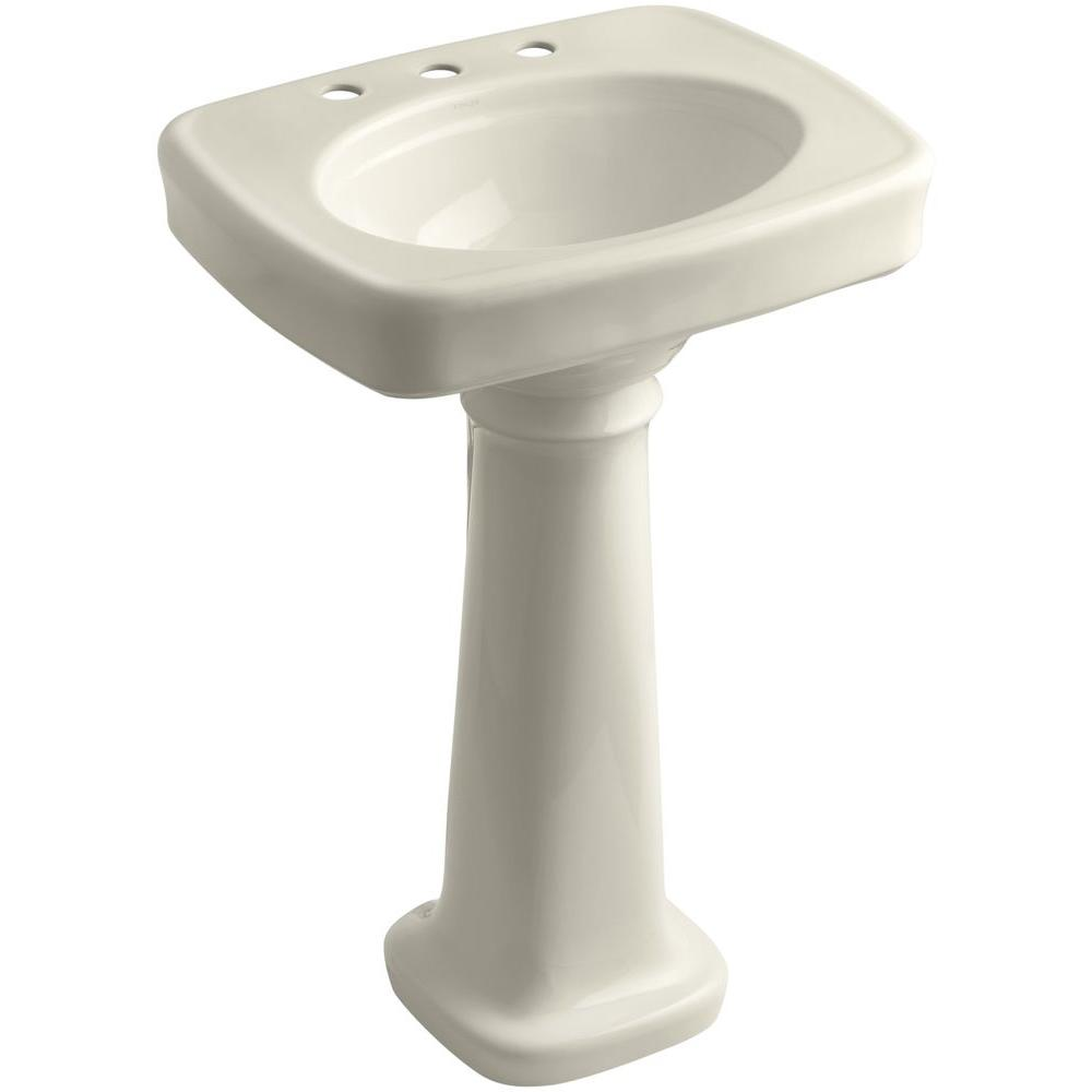 KOHLER Bancroft 4 in. Vitreous China Pedestal Combo Bathroom Sink in Almond with Overflow Drain