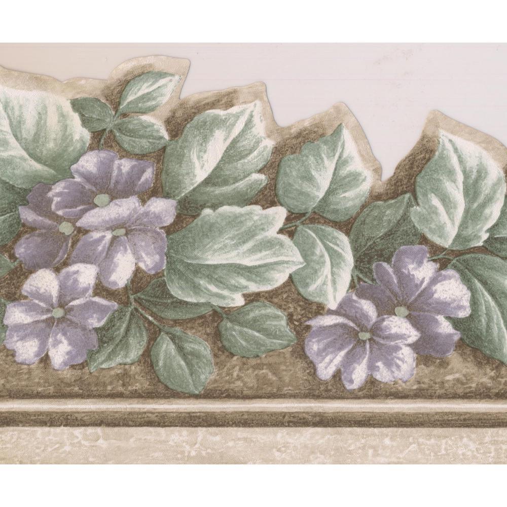 Purple Flowers Grey Floral Prepasted Wallpaper Border