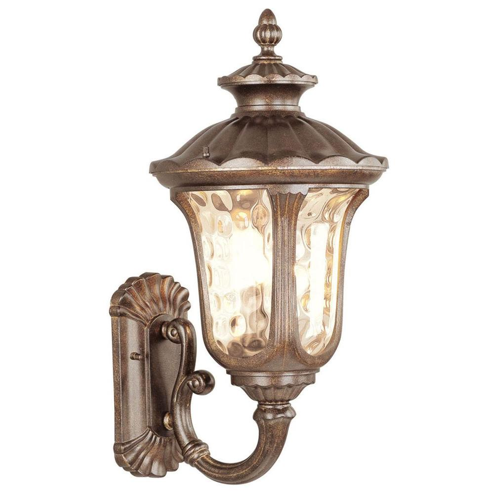 Livex Lighting Providence Wall Mount 3 Light Moroccan Gold Outdoor Incandescent Lantern Sconce
