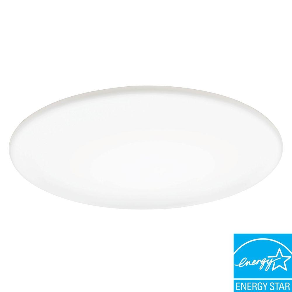 1 Light Milk White Fluorescent Low Profile Round Fixture