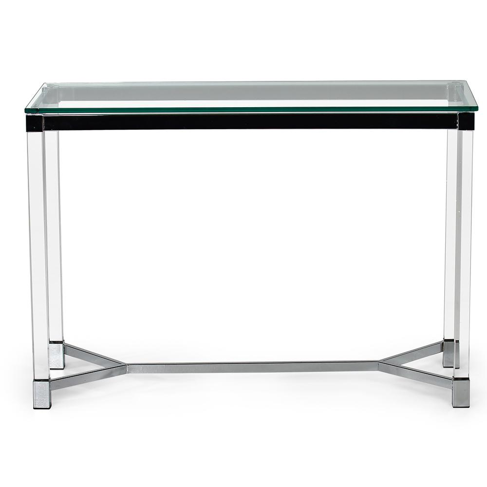 Talia Glass And Chrome Sofa Table Tl200s The Home Depot