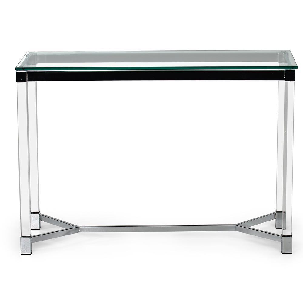 Talia Glass And Chrome Sofa Table Tl200s The Home Depot