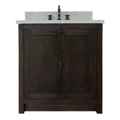 Plantation 31 in. W x 22 in. D Bath Vanity in Brown with Granite Vanity Top in Gray with White Oval Basin