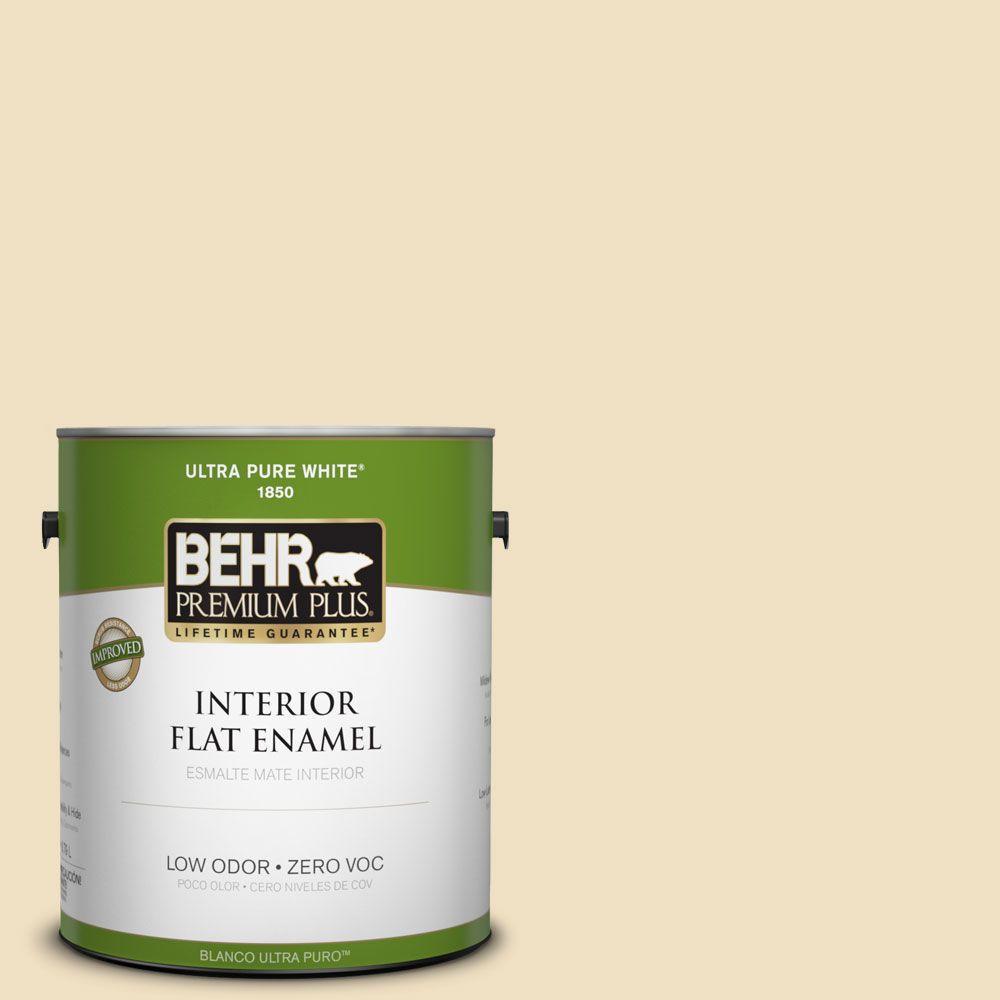BEHR Premium Plus Home Decorators Collection 1-gal. #HDC-NT-17 New Cream Zero VOC Flat Enamel Interior Paint-DISCONTINUED
