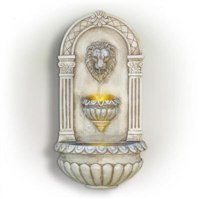 32 in. Tall Outdoor Classical Wall-Mounted Water Fountain with Lion Head and LED Lights