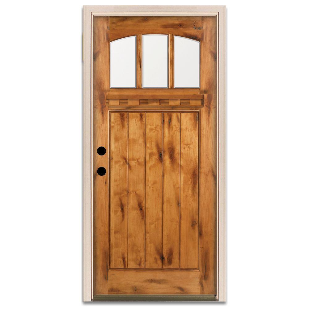 Steves & Sons Craftsman 3 Lite Prefinished Knotty Alder Wood Prehung Front Door-DISCONTINUED