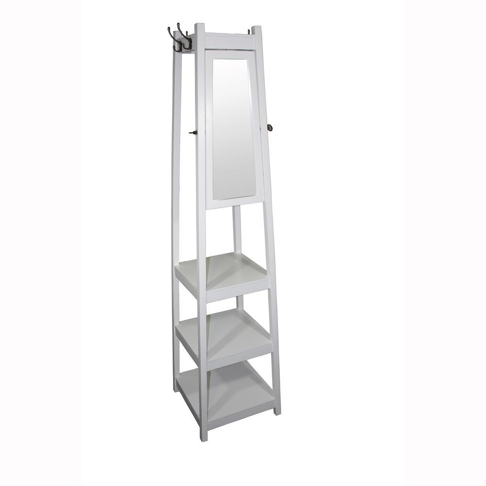 72 in 3-Tier White Tower Shoe/Coat Rack+Mirror