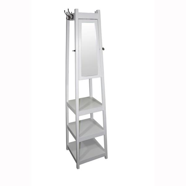 undefined 72 in 3-Tier White Tower Shoe/Coat Rack+Mirror