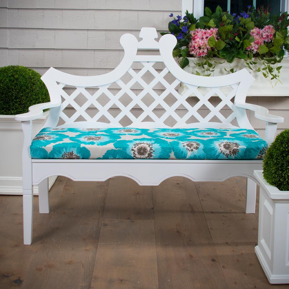 Grouchy Goose Laguna Blue Rectangular Bench Porch Swing Cushion