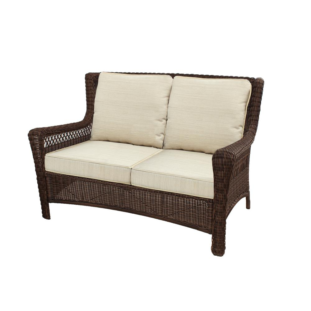 Groovy Hampton Bay Park Meadows Brown Wicker Outdoor Loveseat With Beige Cushion Alphanode Cool Chair Designs And Ideas Alphanodeonline