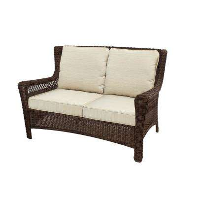 Park Meadows Brown Wicker Outdoor Loveseat with Beige Cushion